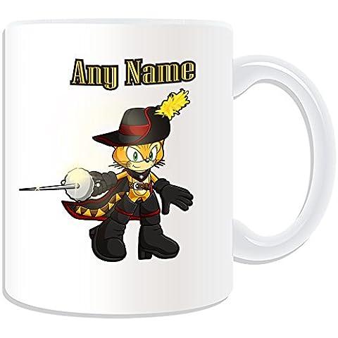 De regalo con mensaje personalizado - taza de desayuno de gato mosquetero (molde para hacer una diseño de, blanco) - nombre personalizable para/de mensaje tu diseño de - botas de espada para valla Christmas