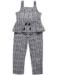 Sanlutoz Moda Chicas Ropa Conjunto Fuera del hombroTraje + Largo Pantalones 2 Piezas Niños Ropa Conjuntos