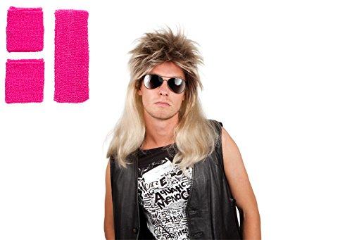 B Party Motto Ideen Kostüm (Panelize® 80er Jahre Vokuhila Perücke und Schweißband Stirnband Set 4 Farben wählbar)