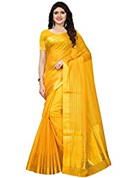 Kanchnar Women's Cotton Silk Gold stripes Kota Doria Saree with Unstitched Blouse