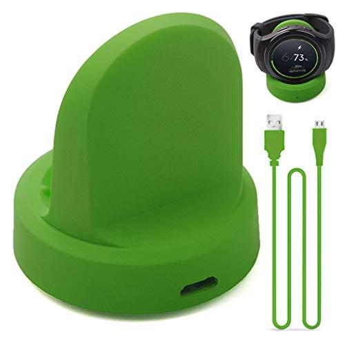 Mamum Qi Wireless Charging Dock Cradle Ladegerät mit USB-Kabel für Samsung Galaxy Watch Active (Grün) Cradle-kabel