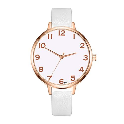 YUHUISTART Damenuhr Rosegold Analog Quarzuhr mit Leder Armband Arabische Ziffern Uhr Große Ziffern Damenuhr Minimalistische Uhr für Frauen Casual und Modische Uhren Damen (Weiß) -