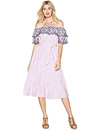 3eb7f64028b Red Herring Lilac Striped Embroidered Cotton Bardot Neck Short Sleeve Midi  Dress