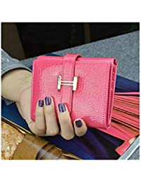 WEIFAN-wallet purse Billetera para Mujer H Hebilla Real de Cuero para Mujer Monedero Cuadrado Clip Chupar Cinturón Cambiar Carpeta / 19 * 9.5 *…