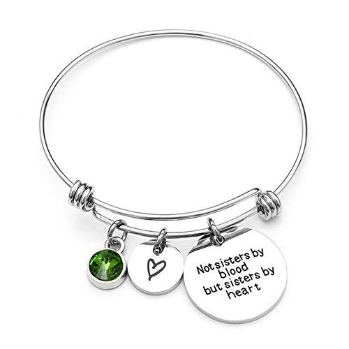QFJCNZ Armband Geburtsstein Armreif Armbänder Edelstahl Armband Für Frauen Freundschaft Geschenk
