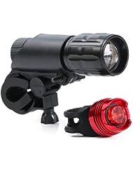 Rixow LED Fahrradlampe CREE Frontlicht und Rücklicht 3 Licht-Modi 200LM