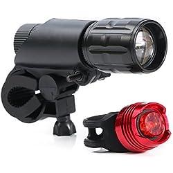 LED Luz de Bicicleta Conjuntos,Rixow Juego de Luces para Bicicleta de Faros Delanteros y Traseros con 3 Modos,Resistente al Agua,Baterias incluidas,200lm