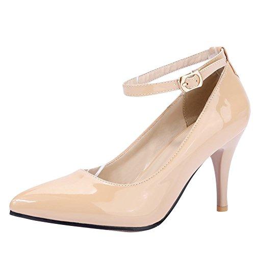 Mee Shoes Damen ankle strap hocher Absatz Lackleder Pumps (34, Aprikose) (Pump Schuhe Strap)