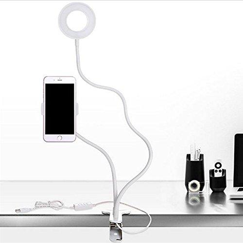 Ring Licht mit Handy Halterung Klemme Universal Drehbar verstellbar Bright USB-Port Studie Handy Halterung für Live Stream weiß (Chat Live)