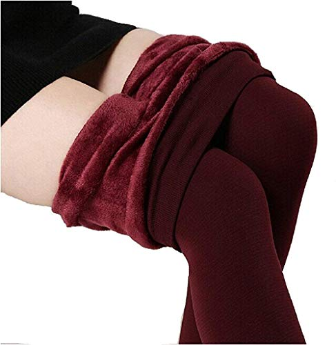 Rooliums® (Brand Factory Outlet) Thick Fur Lined Warm Leggings For Women/Girls - Free Size (Maroon)