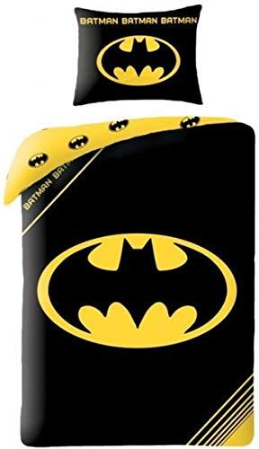 Halantex Batman-Wendebettwäsche, 50% Baumwolle, 50% Polyester, Bettbezug 140 x 200 cm, Kissenbezug 70 x 90 cm (Lego Batman Bettwäsche)