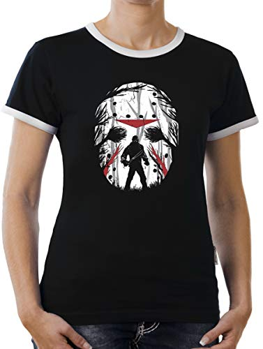 (Touchlines Merchandise Jason Friday Night Kontrast T-Shirt Damen XXL Schwarz)