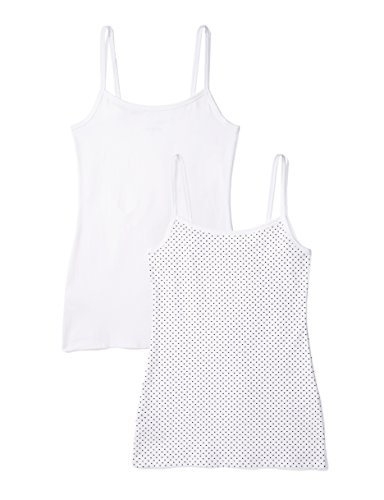 Iris & Lilly Camiseta de Tirantes Body Natural para Mujer, Pack de 2, Multicolor (White/Print Dot), Medium