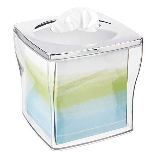mDesign Funda para cajas de pañuelos de plástico – Práctico dispensador de pañuelos para el baño o la oficina – Modernas cajas para pañuelos de papel ideales como fundas – transparente/plateado