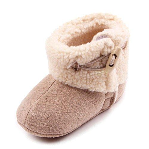 Auxma Baby schönen Herbst Winter warme weiche Sohle Schneeschuhe weiche Krippe Schuhkleinkind Stiefel (12cm(0-6 Monate), Rosa) Khaki