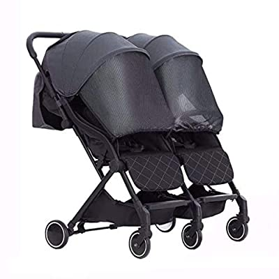 Cochecito De Bebé Plegable De Doble Asiento, Cochecito Gemelo Ligero, Fácil De Transportar, Negro, Rosa, Amarillo
