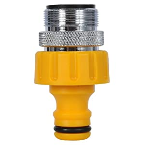 Hozelock Kitchen Tap Connector with a 24mm male head - Yellow