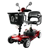 Rabbfay Travel Mobility Scooter 4-Wheel Sport for Adults with Headlight, Horn, Reflective Mirror, Body Bumper, Removable Battery