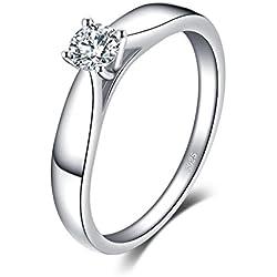 JewelryPalace 0.21ct Magnifique Bague de Fiançailles Femme Alliance Mariage Anniversaire en Argent Sterling 925 en Zircon Cubique de Synthèse CZ Taille 57