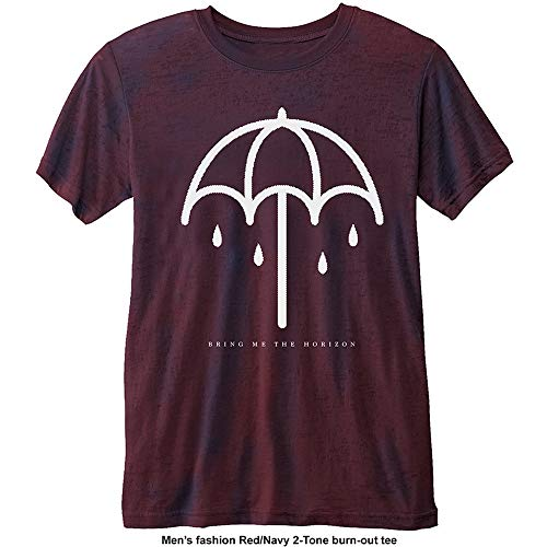 Bring Me The Horizon Umbrella with Burn out Finishing Camiseta, Morado Purple, Large para Hombre