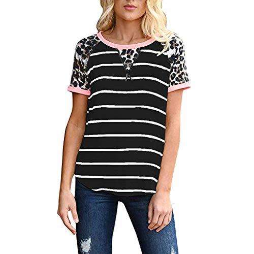 Innerternet Damen Kurzarm T-Shirt Basic Sommer Shirt Rundhals Farbblock Streifen Tops Leopard Druck Patchwork T-Shirt Casual Lose Top Bluse Oberteil