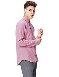 FIND Men's Shirt Cotton with Pin Check Print in Slim Fit