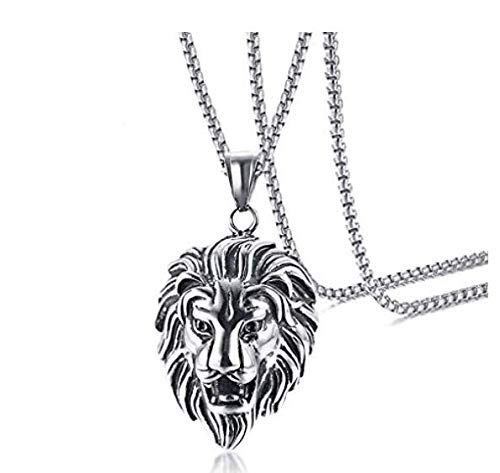 STRIPES Silver Oxidised Pendant With Chain For Boys/Men (lion head)