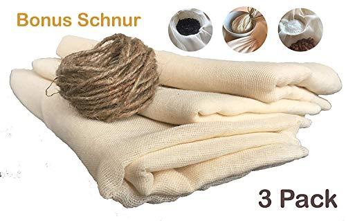 ViaForest 3 Paket Käsetuch Filter (Bonus Schnur) Sieb Mandelmilch Säfte Fleisch Trocknen 90x90 cm Wiederverwendbar, 100% ungebleichter Baumwollstoff - Fleisch-saft