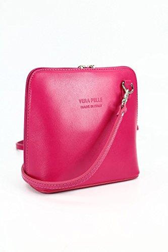italiano Borsa in pelle piccolo pratico Borsa a tracolla Ladies elegant borsa a tracolla , 17x16,5x8,5 cm (B x H x T) Pink