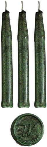 Grün Metallic Traditioneller Siegelwachs von Waterstons 100mm lang mit Docht X 3