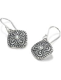 Estilo antiguo de plata de ley 925madre de Pearl pendientes con adornos en forma de diamante diseño de flores