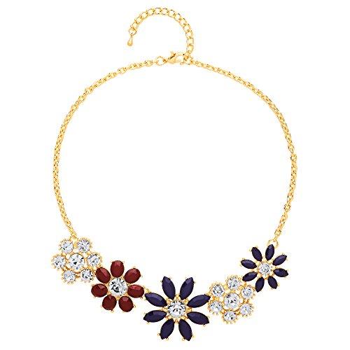 Front Row Damen-Kette silberfarben burgunder- und marinefarbenes Blumendesign -