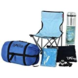 Complete camping kit: The Lazy Buddy - sleeping bag, chair, mat, torch, raincoat, pillow. Perfect for festivals