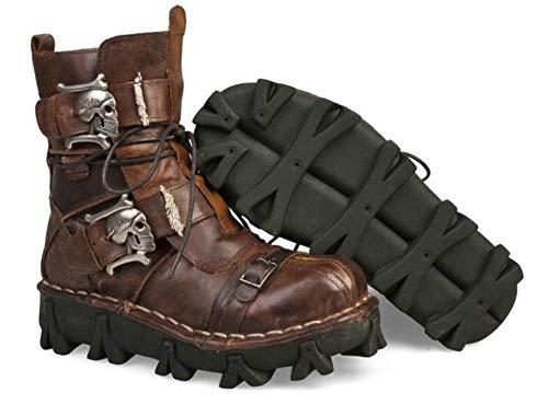 JIANGJIE Mens Vera Pelle Esercito Militare Impermeabile Stivali Traspirante Gotico Cranio Punk Moto Martin Stivali Mid Heel,Brown,50