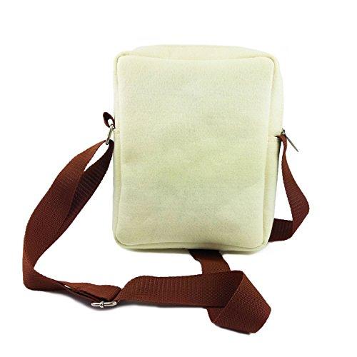 Venetto Umhängetasche Herren Damen Unisex Schultertasche Freizeit Business Tasche aus Filz mit Echtleder-Applikationen (Schwarz Meliert) Creme