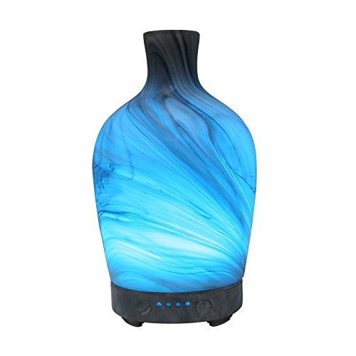Aroma Diffuser 100ML Ätherisches Öl Diffuser Glas Muster mit 4 Zeiteinstellung & 7 Farbwechsel LED Luftbefeuchter Humidifier für Hause Büro SPA und Schlafzimmer (Mehrfarbig 1) -