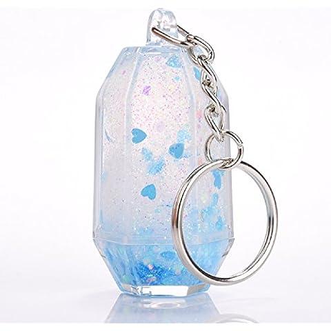 Ekakashop creativo Upright Keychain, A Portable squisiti cuori e star Bling glitter portachiavi -- Blue, Hearts