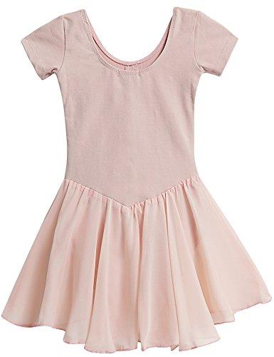 Qenci Kinder Mädchen Klassisches Ballerina Kleid Kinderkostüm Tutu Ballettkleid Trikot Kleid Kurzarm Rosa Schwarz Weiß Lila Blau Gr. 110-160