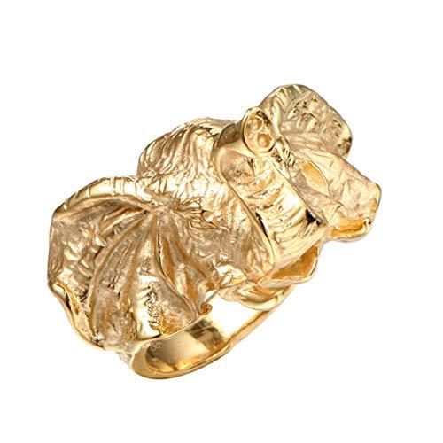 Epinki Anillo Acero Inoxidable Oro Elefante Cabeza Aniversario Anillo de Bodas Compromiso...