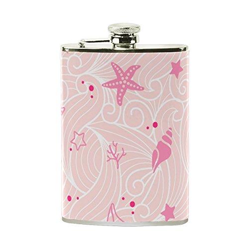 (jeansame Personalisierte Hip Drink Fläschchen 8Oz aus Edelstahl für Damen Herren Ocean Sea Pink Muscheln Seestern)