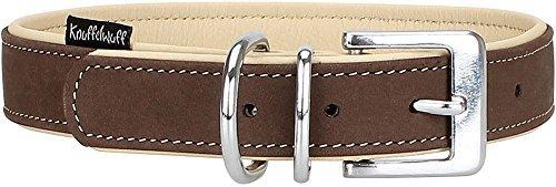 Knuffelwuff Weiches Nubuk Lederhalsband Hund Hundehalsband Welpen Orlando Braun/Beige XS 19-25 cm -