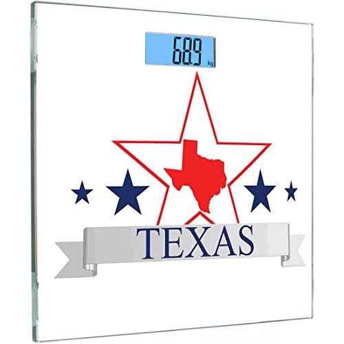 Ultra Slim Hochpräzise Sensoren Digitale Körperwaage Texas Star Gehärtetes Glas Personenwaage, San Antonio Dallas Houston Austin Karte mit Sternenmuster USA, Marineblau Vermilion Pale Gre