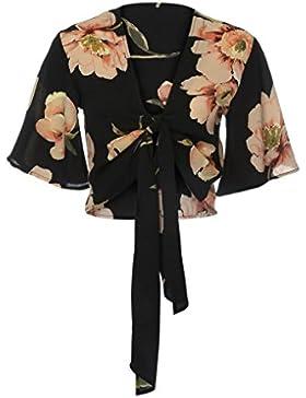 IMJONO Moda mujer V-cuello impreso floral arco manga corta blusa Tops camisa