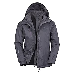 mountain warehouse bracken extreme womens 3 in 1 waterproof jacket - breathable rain coat, detachable hood ladies coat- ideal for camping in cold weather
