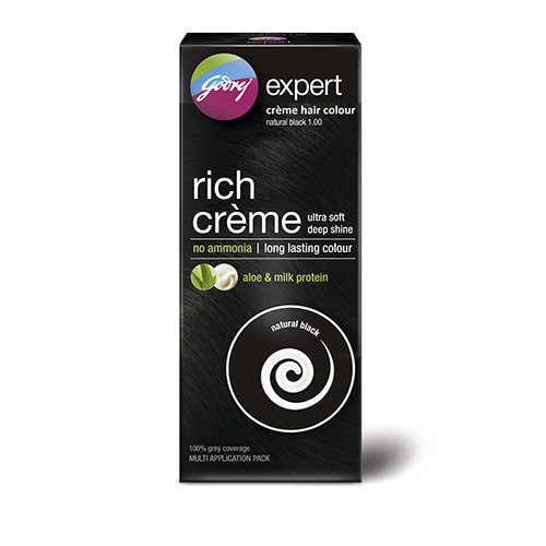 Godrej Expert Rich Crème Hair Colour, Natural Black, 62g+50ml (Multi Application Pack)