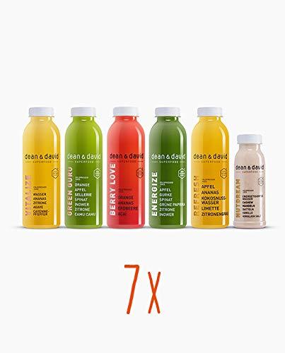 dean&david 7-Tage-Saftkur | Juice Cleanse 35x 500ml kaltgepresster Saft + 7x 330ml Mandelmilch | 100% Vegan, 100% Natur (Sieben-tage-cleanse)