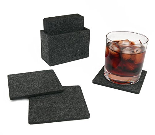 Kaffee Dekorative Aufbewahrungsbox (Glasuntersetzer aus Filz Getränke-Untersetzer für Bar, Tisch, Gläser, Tassen, 8er Set mit Box viereckig dunkelgrau)