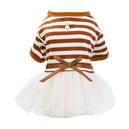 Hund Streifen Tutu Kleid Perlen Gaze Rock Baumwolle Kurzarm T-Shirt Puppy Cat Princess Kleider Kleidung Bekleidung -