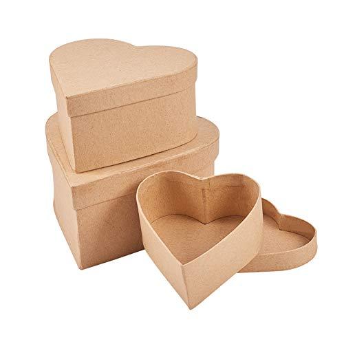 WANDIC Pappmaché-Boxen in Herzform, 3 Stück aus Kraftpapier, Pappmaché, Box für Sparzubehör, Kosmetik, Schmuck, Geschenke, Zuhause