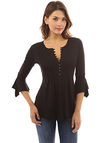 PattyBoutik Damen Henley Plissierte Bluse mit 3/4 Glocken-Ärmeln und Spitzen-Einsatz an den Armen (schwarz XL 46)